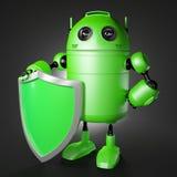 Androidu strażnik z osłoną ilustracja wektor