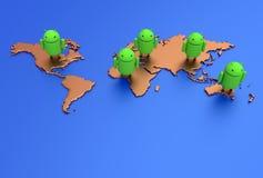 Androidvärldsöversikt Arkivfoton