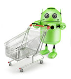 Androidwith shopping cart Royalty Free Stock Photography