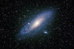 Andromeda Galaxy. M31, The Andromeda Galaxy and companion galaxies, M32 and M101 Royalty Free Stock Image