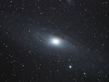 Andromeda Galaxy and universe stars over telescope Royalty Free Stock Image