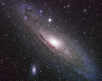 Andromeda galaxy messier. Ndromeda galaxy, through telescope widescope royalty free stock image
