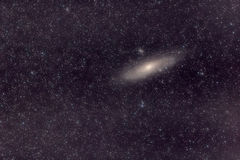 Andromeda galaxy stars universe. Astronomy background photo with stars, space (universe) and galaxy which is the Great Andromeda nebula (M31). Exposure 30 sec x royalty free stock image