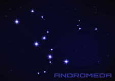 Andromeda star constellation. Vector illustration of Andromeda star constellation in blue Royalty Free Stock Images