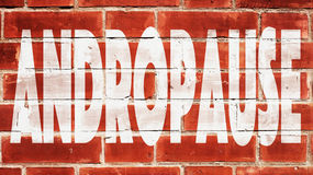 Andropause On A Brick Wall. Andropause Written On A Brick Wall Stock Photo