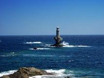 Andros eiland - Licht huis Royalty-vrije Stock Foto's