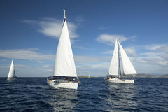 ANDROS, GREECE -  Sailboat participate in sailing regatta Royalty Free Stock Photos