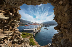 Andros island. View of Andros island from a cave Royalty Free Stock Photo