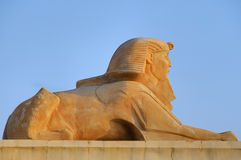 Androsphinx sculpture. Side view of androsphinx sculpture or statue, Soma Bay, Egypt stock image