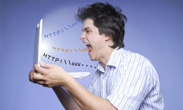 Andry boy with notebook and abstract Internet Stock Photos