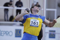 Andryi Semenov at athletics meeting in Prague Stock Images