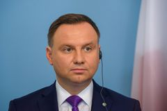 Andrzej Duda, President of Poland. 27.06.2018. RIGA, LATVIA. President of Poland Andrzej Duda and President of Latvia Raimonds Vejonis press conference, during stock image
