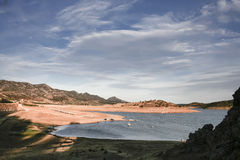 Andscape of Alange Reservoir with boarding pontoons and boats, S Stock Image