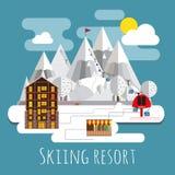 Andscape lpanoramic do projeto liso do recurso de esqui Fotografia de Stock