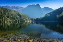 Andscape ochrony terenu Achstà ¼ rze Jeziorny Piburger Widzii i alps w tle Tirol natury stare prezerwy Oetz alps Fotografia Royalty Free