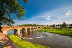 Andscape with old brick bridge Stock Photo