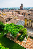 Andscape with roofs of houses in small tuscan town in province Stock Images