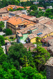 Andscape with roofs of houses in small tuscan town in province Stock Image
