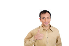 Andsome young business man, student, employee, customer giving thumbs up sign Stock Image