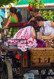 ANDUJAR,SPAIN - September, 6: Women typical Sevillian flamenca s Royalty Free Stock Photo