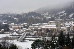 Anduze κάτω από το χιόνι Στοκ εικόνα με δικαίωμα ελεύθερης χρήσης