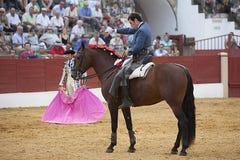 Andy Cartagena, stierenvechter op horseback het Spaans Stock Foto