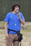 Andy Day presenting live wildlife show Stock Photo