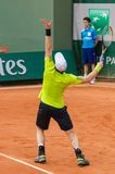 Andy Murray στη δεύτερη στρογγυλή αντιστοιχία, Roland Garros 2014 στοκ εικόνες