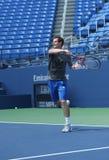 Δύο φορές οι πρακτικές του Andy Murray πρωτοπόρων του Grand Slam για τις ΗΠΑ ανοίγουν το 2013 στο στάδιο του Louis Armstrong Στοκ Εικόνες