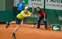 Andy Murray no segundo fósforo do círculo, Roland Garros 2014 Imagem de Stock