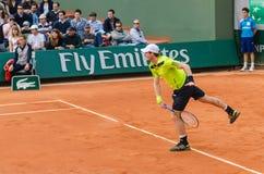 Andy Murray no segundo fósforo do círculo, Roland Garros 2014 Fotografia de Stock Royalty Free