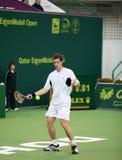 Andy Murray am Qatar-Tennis geöffnet Stockfotografie