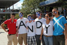 Andy Murray's fans ready for men final match at US OPEN 2012 at Billie Jean King National Tennis Center Stock Photos