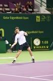 Andy Murray spelen in tennis Doha Stock Afbeeldingen