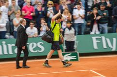 Andy Murray wins second round match, Roland Garros 2014. Paris, France - May 29, 2014: Andy Murray of Great Britain celebrates win after 2nd round match at Royalty Free Stock Images