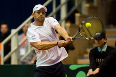 Andy Roddick. During his match against Juergen Melzer of Austria - Davis Cup Austria 2008 Stock Photography