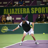 Andy Roddick playing in Doha, Qatar Royalty Free Stock Photos