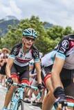 Andy Schleck Wspina się Alpe d'Huez Zdjęcia Royalty Free