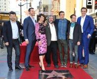 Andy Serkis, Richard Armitage, Evangeline Lilly, Peter Jackson, Orlando Bloom, Elijah Wood & Zawietrzny tempo zdjęcia royalty free