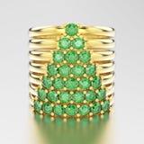 aneis de diamante decorativos do ouro amarelo da ilustração 3D com diamon Imagem de Stock Royalty Free