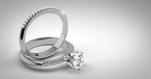 Aneis de diamante do casamento do solitário ilustração royalty free