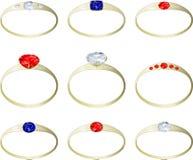 Aneis de noivado de pedra preciosa Fotografia de Stock Royalty Free
