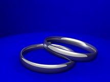 Aneis de noivado de prata Foto de Stock Royalty Free