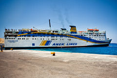Anek Lines Ferry boat on Santorini island Royalty Free Stock Photography