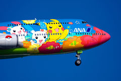 ANEKDOTEN Boeing 747 am Haneda-FLUGHAFEN lizenzfreie stockfotografie