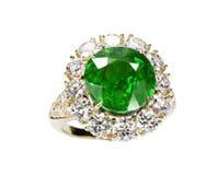 Anel bonito com gema verde Fotografia de Stock Royalty Free