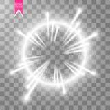 Anel claro do vetor O quadro brilhante redondo com luzes espana as partículas da fuga isoladas no fundo transparente Fotografia de Stock