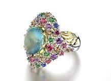 Anel com cor diferente de pedras preciosas Fotos de Stock Royalty Free