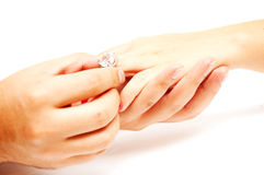 Anel com diamante Imagens de Stock Royalty Free