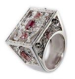 Anel com diamantes e rubis Imagens de Stock Royalty Free